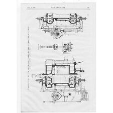 1903 Engineering Antique Print - Valve Gear - 5000 Horse Power Compound Engines