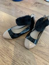 GIRLS BLACK/BEIGE PATENT  FLUFFY PARTY SHOES BY RIVER ISLAND SIZE 2