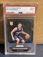 2015 Panini Prizm Devin Booker Base Rookie Card  #308  PSA 9 Mint RC Suns