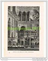 INTERIOR, MOSQUE OF ST SOPHIA, CONSTANTINOPLE (ISTANBUL), TURKEY, PRINT c1890