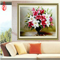 Round Diamond Painting Cross Stitch Kits Rhinestones Embroidery Lily Vase 5D DIY