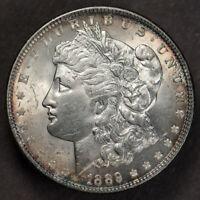 1889 $1 MORGAN SILVER DOLLAR - RIM TONING - LOT#E873