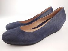 FS/NY Gumdrop Navy Cartizze Leather Wedge Flats Shoes Sz 8
