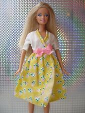 SALE Vintage Barbie & Sindy Doll Clothes - Cream & Yellow Dress with Berry Motif