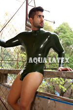 Masculine Leotard Rubber Latex Catsuit with Turtleneck Collar