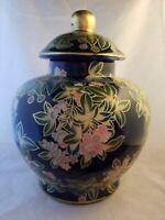 """Ginger Jar Dark Blue Raised Gold w/Pastel Floral Urn Vase 10"""" Ceramic Pottery"""