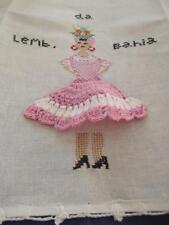 Vintage Brazilian Hand Embroidered Towel Lemb da Bahia Beauty Pink Crochet Skirt