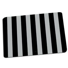 Black and Gray Vertical Wide Stripes Design Indoor Door Mat Rug