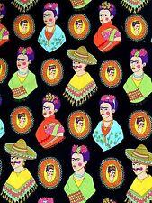 Fabric FRIDA KAHLO FANTASTICO Folklorico Mexican Folk Art Black Henry 1/2 YD