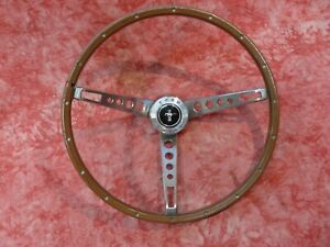 Nice 1965-66 Ford Mustang GT Wood Grain  spoke Steering Wheel ,horn button