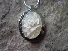 STAINLESS STEEL WHITE ROSE CAMEO URN NECKLACE - MOURNING, ASHES, LOCK OF HAIR