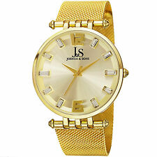 Men's Joshua & Sons JS90YG Quartz Movement Stainless Steel Mesh Bracelet Watch