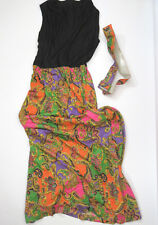 True Vtg 1960's 1970's Acetate Vibrant Color Paisley Dress Hippie Mod Boho Sz 14