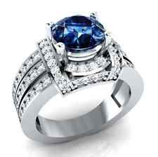 Fashion Women Round Cut 2.95 Ct Blue Sapphire 925 Silver Wedding Ring Size 8