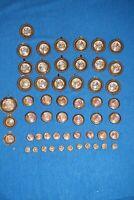 Lot of 54 ANTIQUE Battersea Enamel Brass Knobs Porcelain Door Drawer Pulls
