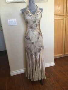 Sue Wong Nocturne 100% Silk/lace Beaded Floral Champaign Halter Dress - Size 6