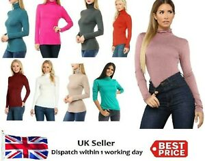 LADIES WOMENS POLO NECK TURTLE ROLL HIGH NECK JUMPER PARTY TOPS SIZE 8-24
