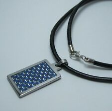"""Women's Tungsten BLUE Carbon Fiber inlay Pendant w/ 3mm Blk Leather Necklace 20"""""""