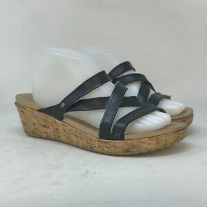 Crocs Womens Leigh Black Leather Strappy Sandals Slip On Wedge Heel Size 10