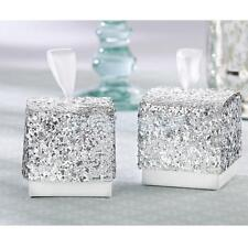 10pcs Glitter Silver Paper Boxes Wedding Party Bomboniere Candy Favor Favour