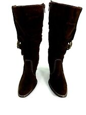 """PREDICTIONS WOMENS BROWN SUEDED FAUX LEATHER 3"""" HEEL BOOTS SIZE 5.5"""
