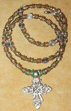 Ethiopian Coptic Christian Metal Cross Pendant Glass & Metal Beads Necklace