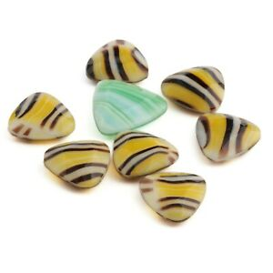 Lot (8) Large Czech vintage multicolor striped triangle glass rhinestones