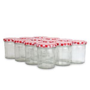 12 x Jam Jars 324ml Wide Mouth Glass Preserve Pots Gingham Lids M&W