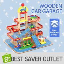 Multilevel Wooden Car Park Garage Ramp Car Parking Toy Cars Colourful Play Set