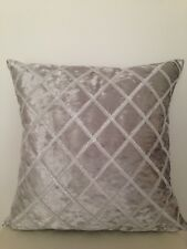 """Light Grey Silver Diamond Stitch Suede Velvet Look Soft Pillow Cushion Cover 18"""""""