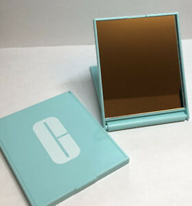 Lot of 2 Clinique Compact Makeup Mirror Light Blue GWP NEW