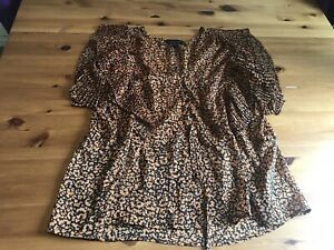 Topshop Size 8 Black Brown Patterned Semi Sheer Blouse Top Tie Waist Frill