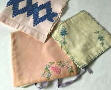 Lot 3 Vintage Antique Linens/Textiles - Lingerie Bag, Pot Holder & Kitchen Cloth