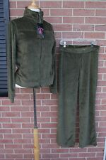 Rok Women's Army Green Velour Velvet Track Suit Pant / Jacket Sz L New w/Tags!