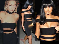 Womens CB Choker Cut Out Off Shoulder Royon Stretchy Bandage Party Evening Dress