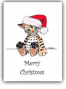 Bengal Cat art Christmas cards pack of 6 from original painting Suzanne Le Good