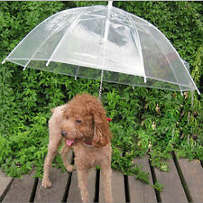 Clear PE Pet Dog Umbrella Build in Leash Keep Your Dog Dry & Comfortable in Rain