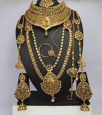 Traditional Indian Dulhan wedding jewelry Bridal Necklace set Earring tikka set