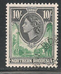 Northern Rhodesia #73 VF USED - 1953 10sh Queen Elizabeth II, Elephants, Giraffe