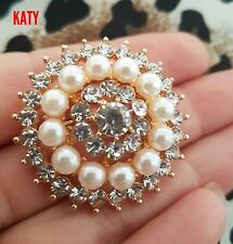 Diamante Pearl Round Gold Tone BROOCH Pin Wedding Bridal Bouquet Flower Crystal