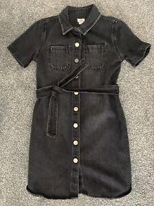 Girls River Island Black Denim Shirt Dress - Age 8