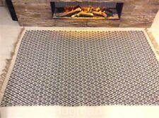 Dark Grey Geometric Handmade Recycled Cotton Jute Area Kilim Rugs Hall Runner