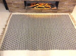 Dark Grey Geometric Handmade Recycled Cotton Jute Area Kilim Rugs Hall Runner