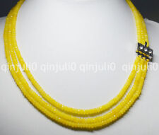 """3 Rows 2X4mm FACETED Yellow Topaz BEADS NECKLACE 17-19"""" JN1376"""