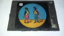 Plaque en verre couleur LANTERNE MAGIQUE - 2 boxeurs noirs en habit - 12 x 9 cm