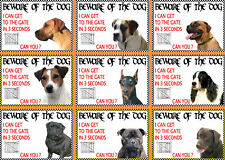 Beware Of The Dog Signs I Can Get To The Gate in 3 Seconds Various Breeds Set C