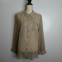 Lane Bryant Women's Plus Size 22/24 Polka Dot Long Sleeve Blouse