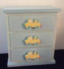 trinket box with 3 draws /baby boy truck theme/ storage for the nursery decor