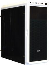 AVP X6 Blanco Media torre para juegos ATX caja del PC con paneles laterales frontales y Completo Acrílico