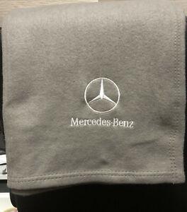 Grey Fleece Blanket, Embroidered Mercedes-Benz Logo,Embroidered Fleece S-Class